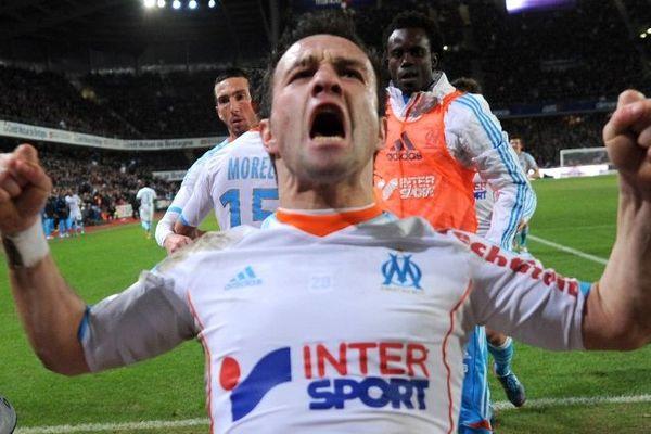Mathieu Valbuena lors du match contre Rennes au stade de la route de Lorient le 26 janvier dernier, l'OM avait fait match nul 2 à 2