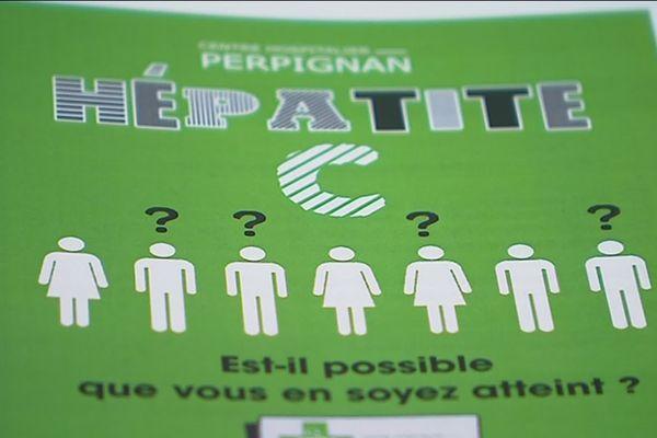 Affiche de promotion du dépistage de l'hépatite C dans les pharmacies de Perpignan