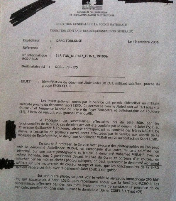La note des renseignements en 2006 où il est question de Clain et de Merah