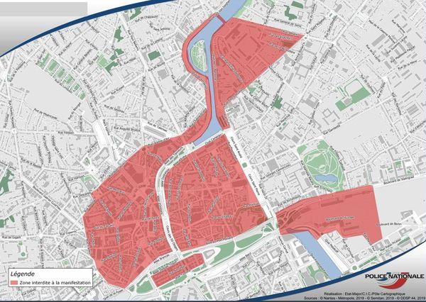 Le périmètre d'interdiction de manifester le samedi 3 août dans le centre-ville de Nantes