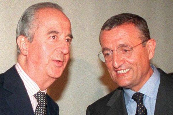 Edouard Balladur et François Léotard lors d'un meeting le 20 mai 1997 à Paris, dans le cadre des législatives anticipées.