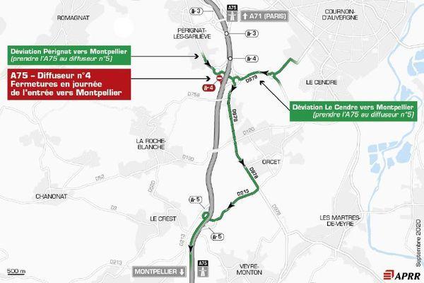 La circulation sera déviée sur l'autoroute A75 entre les 7 et 10 septembre, près de Clermont-Ferrand.