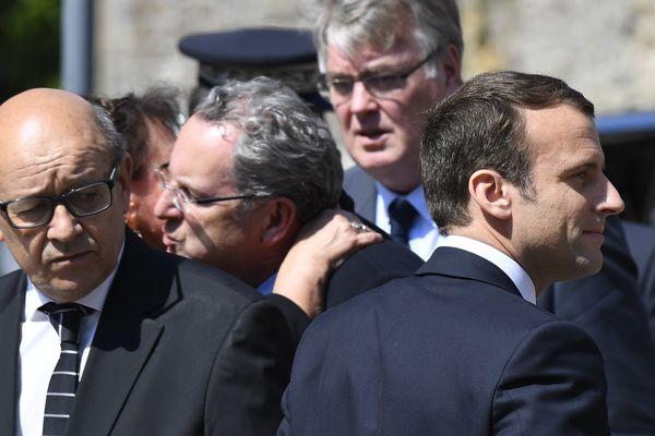 Jean-Yves Le Drian et Emmanuel Macron étaient à Lannion ce mercredi 10 mai pour la cérémonie d'hommage à Corinne Erhel.