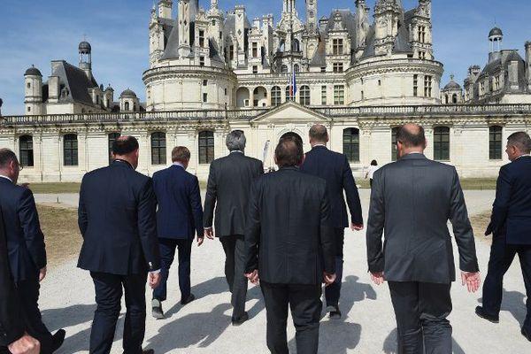 Les ministres européens de l'Agriculture se dirigent vers le Château de Chambord où se tien un sommet européen, le 2 septembre 2016.