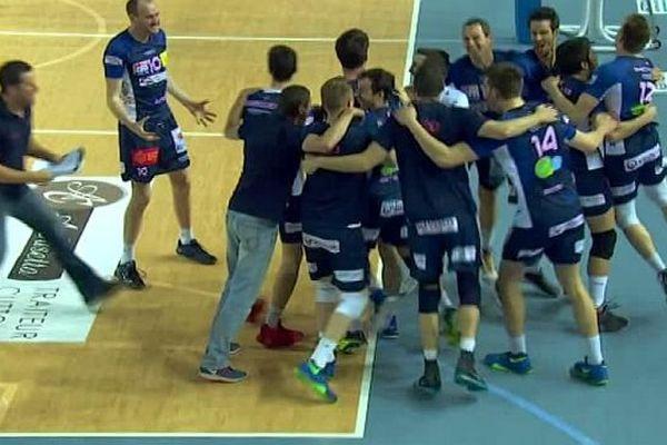 Ajaccio (Corse-du-Sud) - l'Arago de Sète se qualifie pour la finale des play-offs 3 sets à 2 - 28 avril 2016.
