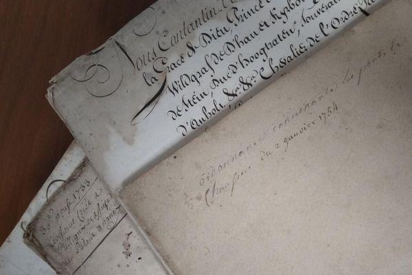 Des documents du service des archives des Vosges