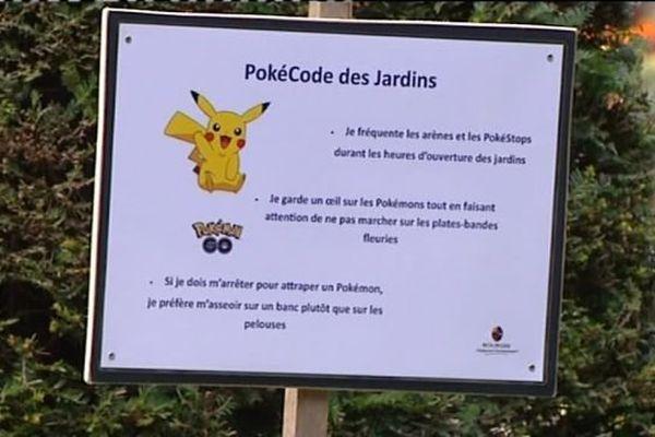 Le PokéCode mis en place par la ville de Bourges pour prévenir des dégradations causés par les joueurs de Pokémon Go  dans les espaces verts.