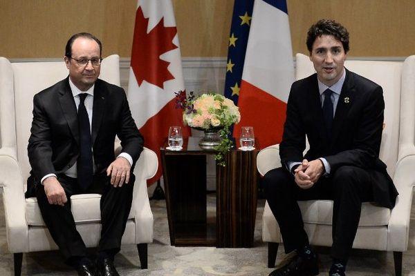 François Hollande et Justin Trudeau à l'occasion du G7, en mai 2016.