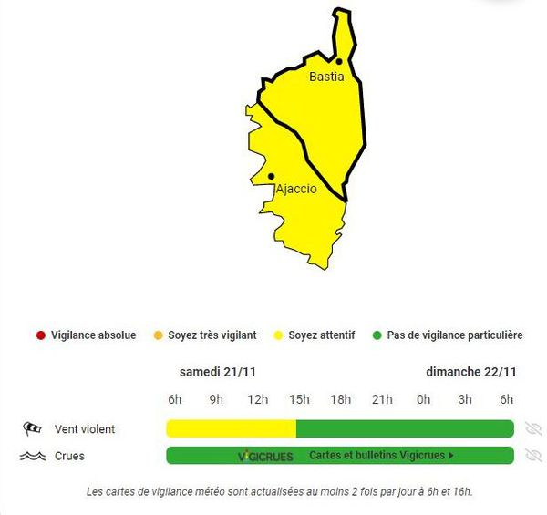 "Vigilance jaune ""vent violent"" en Corse"