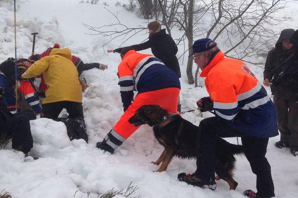 Les sauveteurs, dont un binôme maître-chien, à l'entraînement au Champ du Feu
