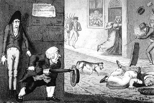 Caricature du XIXème siècle illustrant la peur de la rage et des chiens qui la véhiculent.