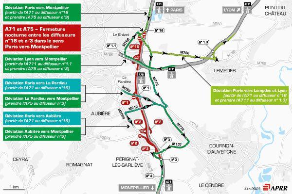 Jeudi 1er juillet, la circulation sera déviée sur l'autoroute A75 près de Clermont-Ferrand entre le Brézet et le zénith.