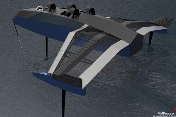 le E-skell, un mélange d'aile volante et de foil