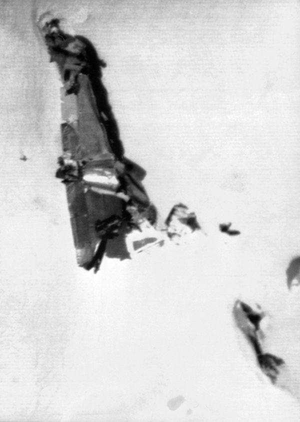 Les restes de l'avion Malabar Princess qui s'est écrasé dans le massif du Mont-Blanc en 1950.