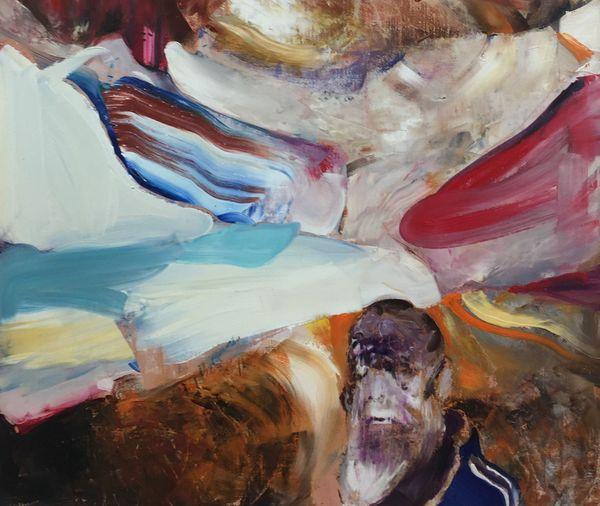 Adrian Ghenie, détail du tableau Untitled (Darwin) / Huile sur toile. Crédit photo : YAP Studio