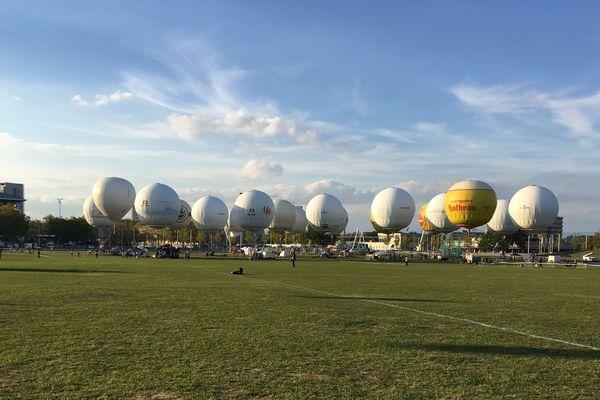 Les ballons à gaz au départ de l'édition 2018 de la course Gordon Bennett, samedi 29 septembre 2018 à Berne (Suisse)