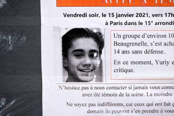Les faits remontent au 15 janvier : Yuriy, un collégien âgé de 15 ans, était conduit à l'hôpital dans un état grave après avoir été roué de coups sur la dalle de Beaugrenelle, dans le XVe arrondissement.