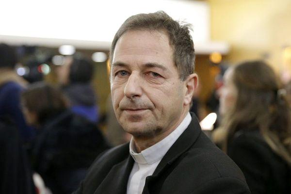 Thierry Brac de la Perrière, archevêque de Nevers, avant l'audience du tribunal correctionnel de Lyon pour l'affaire Barbarin le 7 janvier 2019