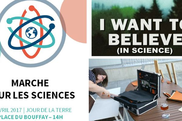 A Nantes, on prépare les affiches de la Marche des Sciences, qui aura lieu samedi 22 avril, à 14h, place du Bouffay