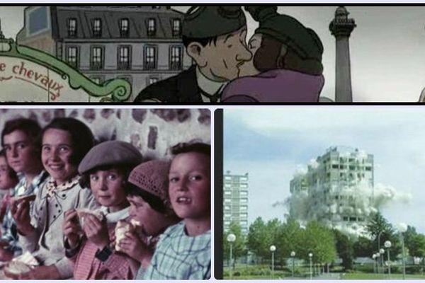 """Retours vers le Futur à Châteauroux : (en haut) extrait du film d'animation """"Avril et le monde truqué"""" - (en bas à gauche) Les écolières à Meslay-le-Vidame en 1938 (G. Lurcy) et le  Foudroyage des tours 15 et 18 à Saint-Jean (Ph.Riou) 2002"""