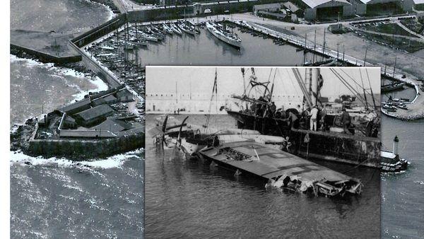 L'épave de l'Atlantide 1 repêchée, le 19 mai 1937, dans le port d'Antibes. Le pilote Lucien Bourdin périt dans cet accident ainsi que Robert Blouin, Luce Brochet, Marcel Juin et Charles Rayer.