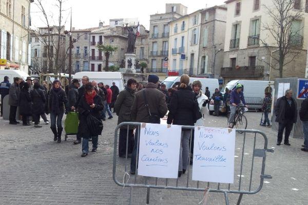 Pézenas (Hérault) - les commerçants non-sédentaires manifestent contre la municipalité - 11 janvier 2013.