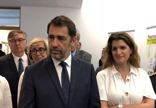 Christophe Castaner et Marlène Schiappa, qui mènent depuis quelques jours la campagne de sensibilisation du gouvernement sur le sujet des violences domestiques en période de confinement