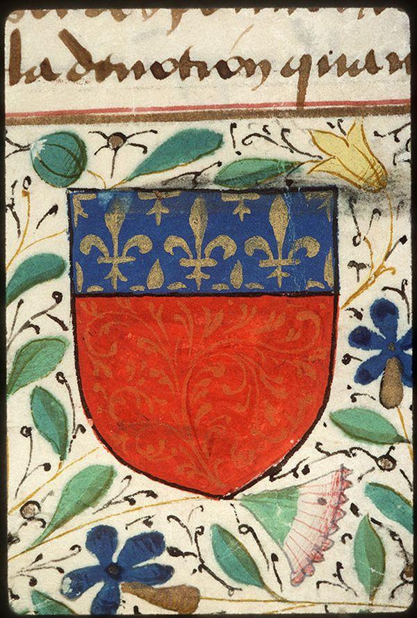 Le blason de la ville d'Amiens en 1470-1480 où l'on aperçoit le lierre sur la partie basse de l'écu
