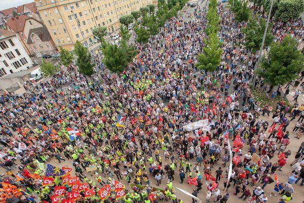 La manifestation de soutien aux salariés de General Electric, à Belfort le 22 juin 2019.