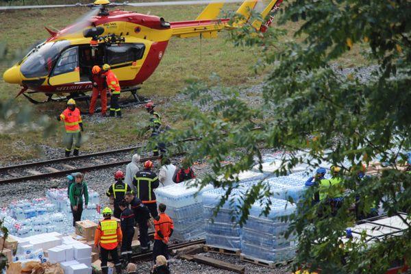 Breil sur Roya : les hélicoptères acheminent les marchandises ce lundi