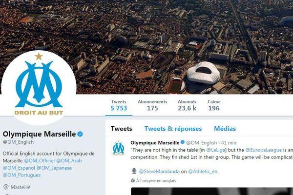 page twitter anglais officiel de l'OM