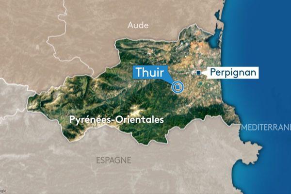 carte Thuir dans les Pyrénées-Orientales