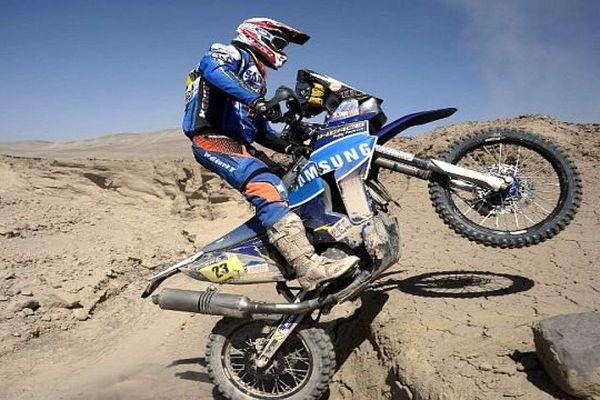 Chili - Dakar 2014 - Juan Pedrero Garcia, le pilote espagnol sur sa moto nîmoise Sherco - 14 janvier 2014
