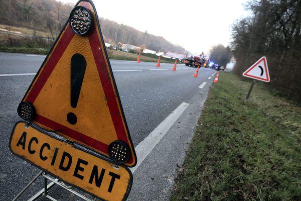 Un panneau d'accident, photo d'illustration.