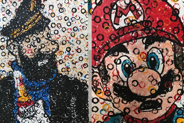 Détails du capitaine Haddock et Mario, 2 peintures sur toile de Nicolas Thollot-Arsac