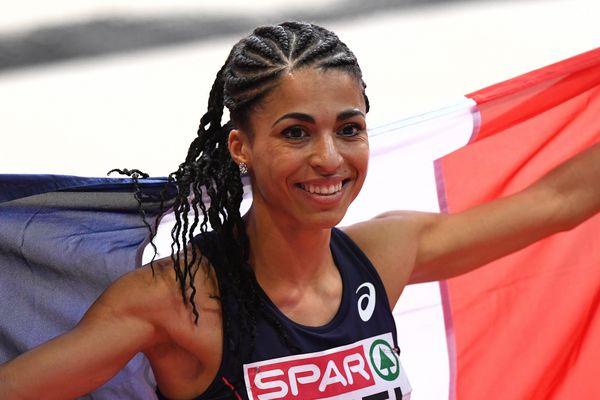 Floria Guei après sa victoire sur le 400m au championnat d'Europe à Belgrade, le 4 mars  2017