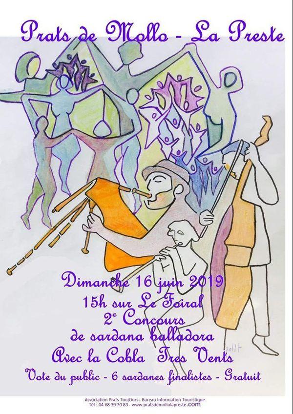 Affiche de la 2° édition du concours de sardanes dansantes de Prats de Mollo