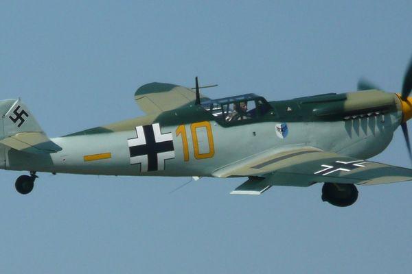 """Cet Hispano Buchon, décoré aux couleurs de l'aviation allemande, sera utilisé sur le tournage de """"Dunkirk""""."""