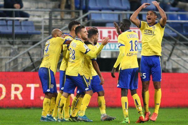 La joie des Sochaliens lors de la victoire face au Havre, le 7 novembre 2019 à Bonal