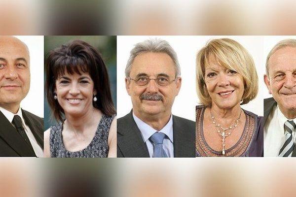Les nouveaux sénateurs des Alpes-Maritimes : Marc Daunis, Dominique Estrosi-Sassone, Louis Nègre, Colette Giudicelli et Jean-Pierre Leleux élus.