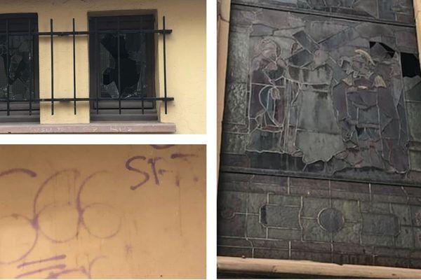 Un vitrail a été brisé, les fenêtres des toilettes enfoncées, et des inscriptions sataniques tracées sur l'église de Reichstett (Bas-Rhin).