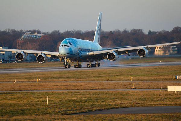 L'Airbus A380 à Hambourg le 14 février 2019.