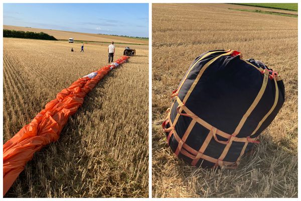 Opération de repliage de la toile de la montgolfière suite à son atterrissage.
