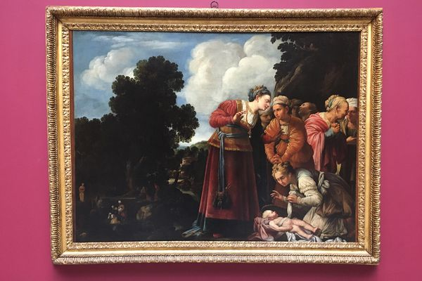 """""""Moise sauve des eaux par la fille du pharaon"""" de Carlo Saraceni, l'un des 44 tableaux présentés à l'exposition """"L'école du regard"""""""