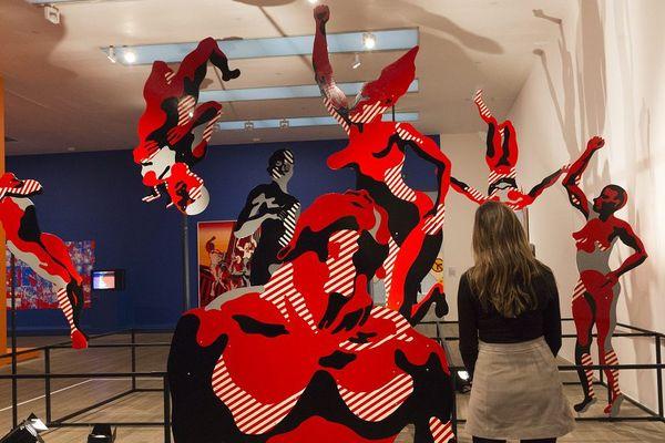 """Oeuvre d'Henri Cueco, """"Large Protest"""" de 1969 exposée à la Tate Modern Gallery de Londres en 2015"""