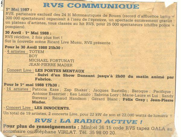 Communiqué de presse de la radio RVS en 1988