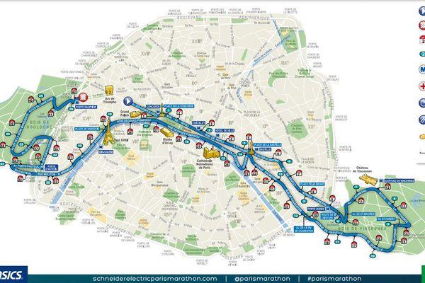 Le parcours du marathon de Paris