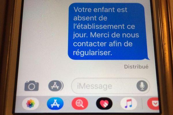 Le SMS envoyé aux parents