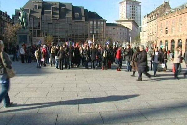 Place Kléber à Strasbourg : environ 400 manifestants seulement.
