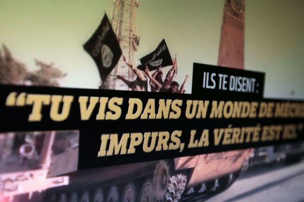 """Une capture d'écran du site stop-djihadisme.fr : """"Ils te disent : tu vis dans un monde de mécréants impurs, la vérité est ici"""""""